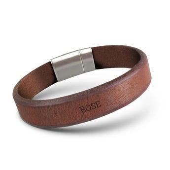 Bracelet homme cuir gravé - Marron - 21 cm