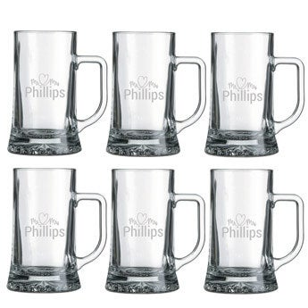 Glass beer mug - set of 6