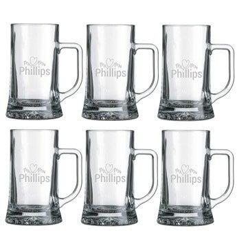 Glass beer mug - set of 6