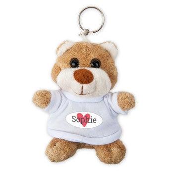 Personalised plush key ring - Photo - Teddy bear