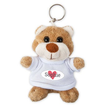 Personalised plush key ring - Photo - Teddy bear