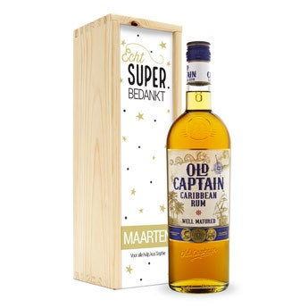 Old Captain (bruin) rum - In bedrukte kist