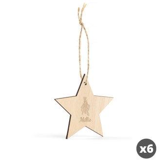 Indgraveret julepynt i træ – stjerne – 6 stk.