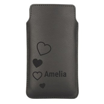 Leather phone case - M - Black