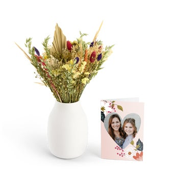 Dried flower bouquet with personalised card - Colourful