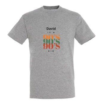 T-skjorte - Menn - Gråmelange - S