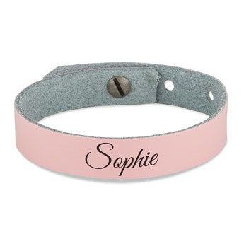 Bracelet prénom fille - cuir rose