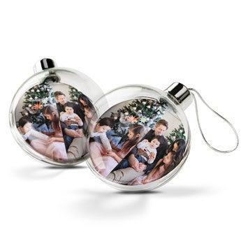 Transparante kerstbal (2 stuks)