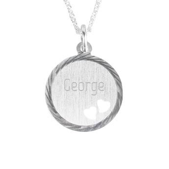 Engraved silver pendant with hearts - Disc