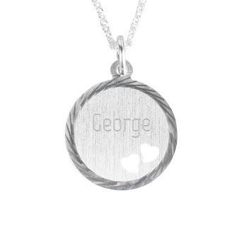 Ciondolo in argento inciso con cuori - Disco