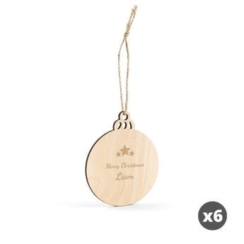 Engraved wooden Christmas decoration - Circle - 6 pcs