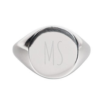 Engraved womens signet ring