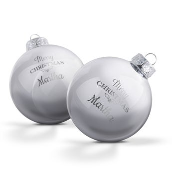 Personalised glass baubles - Silver (2 pieces)