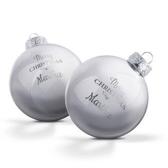 Personlig glassballer - Sølv (2 stk)