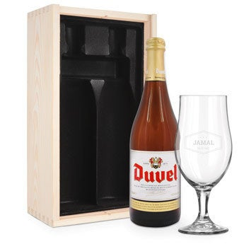 Ølgavesæt med indgraveret glas - Duvel Moortgat