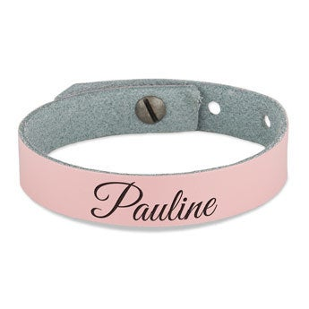 Kožený náramek dámský - Pink