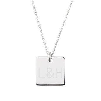 Zilveren ketting met naam - Vierkant
