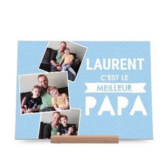 Carte de Fête des Pères en bois - Horizontale