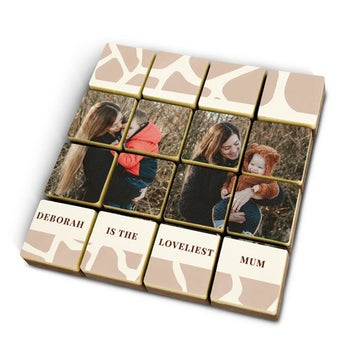 Foto op 16 chocolade blokjes - massief