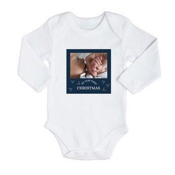Bodysuit de manga comprida para bebê - Primeiro Natal - Branco (74/80)