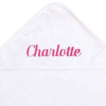Vauvan pyyhe hupulla - valkoinen