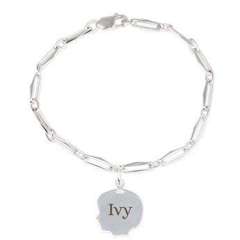 Silver charm bracelet - Child's head - Girl