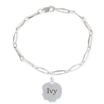 Silver charm bracelet - Child's head - Girl