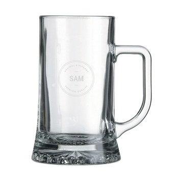 Ølkrus med Gravering i Glas