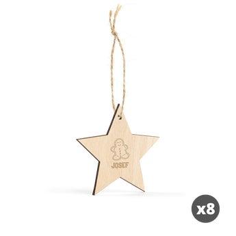 Gravírovaná dřevěná vánoční dekorace - Hvězda - 8 ks