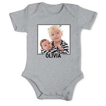 Baby romper - short sleeve - Grey 50/56