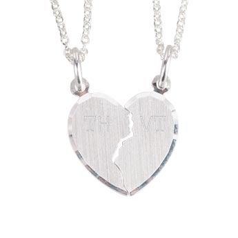 Zilveren hanger - Gebroken hart (Initialen)