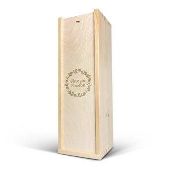 Skrzynka na wino - wygrawerowana pokrywa