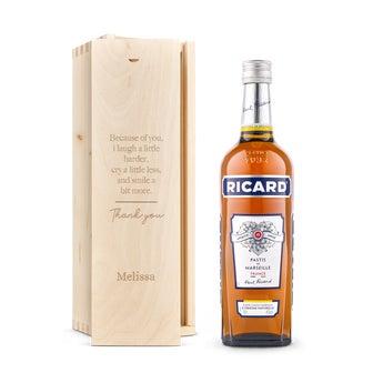 Ricard Pastis liqueur in engraved case