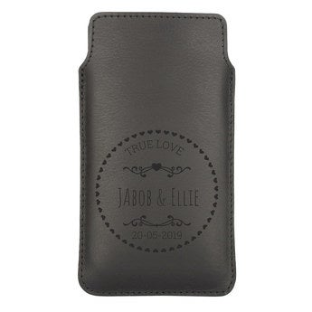 Kožený obal na mobil - XL - Černý