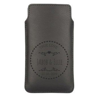 Kožený obal na mobil - XL - Čierny
