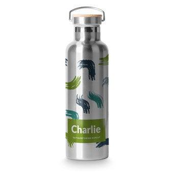 Botellas con foto - Tapa de bambú