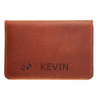 Leather bank card holder - Brown