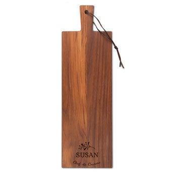 Serveringsplatte i træ – Teaktræ – Aflangt – Lodret (S)