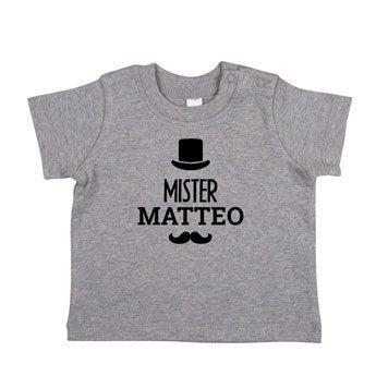 Baby T-Shirt - Kurzam - Grau meliert - 62/68