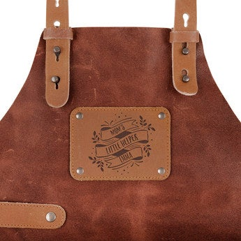 Leather Children's Apron with Name - Brown
