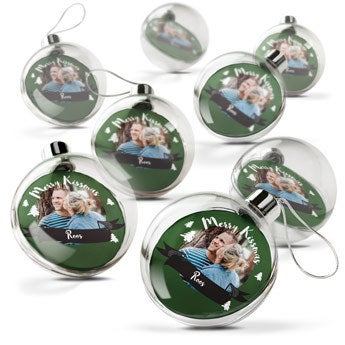 Transparentné vianočné čačky (sada 8)