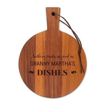 Wooden serving platter - Teak - Round (S)
