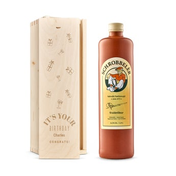 Schrobbelèr liqueur in engraved case