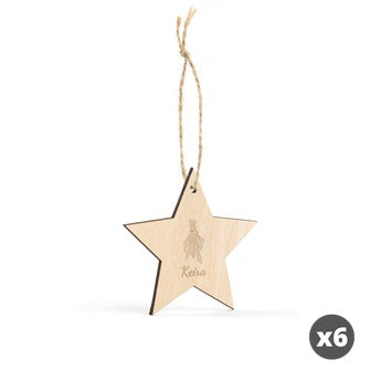 Engraved wooden Christmas decoration - Star - 6 pcs