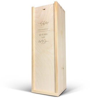 Skrzynia na wino - Magnum - Grawerowana pokrywa