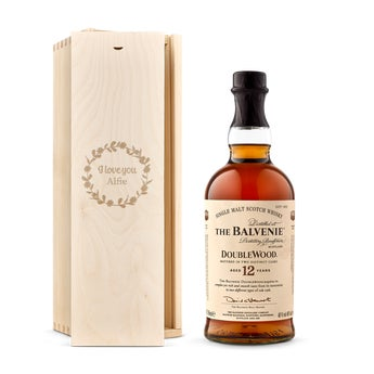 The Balvenie whisky in engraved case