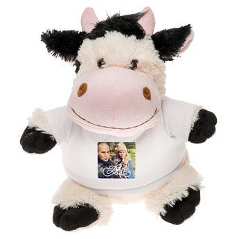 Personalised cuddly toy with photo - Cow