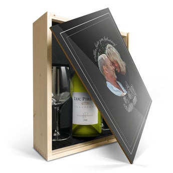 Luc Pirlet Chardonnay mit Glas & Druck