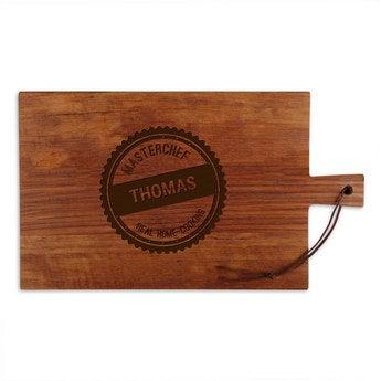 Dřevěný servírovací talíř - týk - obdélník - krajina (L)