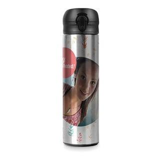 Luxurious 'pop top' water bottle - Aluminium look